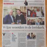 In het nieuws: Jorislezing 2018 in het Algemeen Dagblad